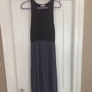Black & Steel Blue Maxi Dress